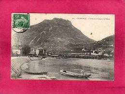 38 Isère, Grenoble, L'Isère Et Le Casque De Néron, Animée, Barque, 1909, () - Grenoble
