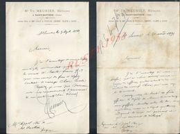 2 LETTRES DE 1891 TH MEUNIER NOTAIRE À SAINT SAUVEUR YONNE : - Manuscripts