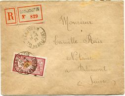 FRANCE LETTRE RECOMMANDEE DEPART DANJOUTIN 14-3-23 Tre DE BELFORT POUR LA SUISSE - Storia Postale