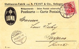 LUNA. Postkarte Stahlwaren Von A. Feist & Cie Solingen. 20.3.1907 - Deutschland