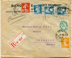 FRANCE LETTRE RECOMMANDEE DEPART BELFORT 10-4-25 Tre DE BELFORT POUR LA SUISSE - Storia Postale