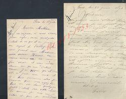 2 LETTRES DE 1892 ECRITE DE PARIS FAMILLE HENRI NICAISE : - Manuscripts