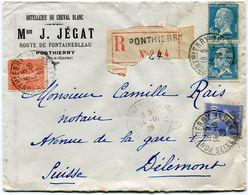 FRANCE LETTRE RECOMMANDEE DEPART PONTHIERRY 14-10-29 SEINE ET MARNE POUR LA SUISSE - Storia Postale