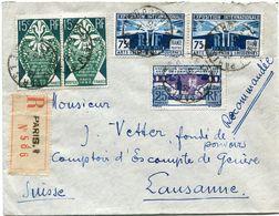 FRANCE LETTRE RECOMMANDEE DEPART PARIS 11-8-25 POUR LA SUISSE - Storia Postale