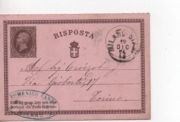 Timbre.Entier Postal.Italie.1874. - 1861-78 Victor Emmanuel II.