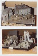 Militaria,char,camion, Véhicule Blindé, Camion USA, Soldats, Ruines,  2 Photos, Maquette, En Allemagne? - Vehicles