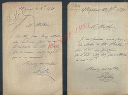 2 LETTRES DE 1890/91 ECRITE DE MIGENNES : - Manuscripts