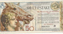 PRIX ARC TRIONPHE 1935 .BILLET DE 50FR - Biglietti Della Lotteria