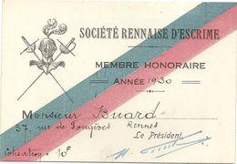 SOCIETE RENNAISE DESCRIME . 1930 - Escrime