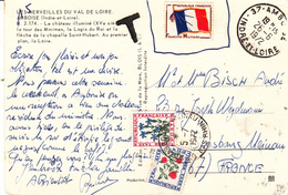 CP Affr Y&T Drapeau 13 INADMIS Obl AMBOISE Du 26.6.1972 Taxée 0.60 à STRASBOURG MEINAU Le 5.7.1972 - Poststempel (Briefe)
