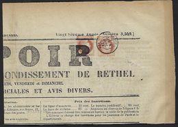 Ardennes Journal L'espoir De Rethel Double Affranchissement, 2 Cents. Typo + 2 Cents Cachet à Date TB - Zeitungsmarken (Streifbänder)