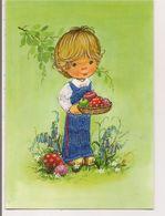 Carte Postale Brodée  -   Illustration   -     Fillette - Brodées