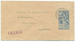 1772 - 25 Rp. UPU 1900 - ABART Offenes Schild Mit Oberem Bogenrand Auf Chargé Brief Von GENÈVE - Bahnwesen