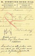 Postkaart Publicitaire Germania MECHELN 1915- Censuur MECHELN - Header H. DIERICKX-BEKE Fils Uitgevers Te MECHELEN - Mechelen