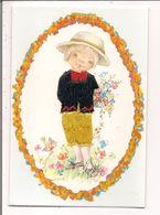 Carte Postale Brodée  -   Illustration Nuco    - Fillette,  Fleurs - Brodées