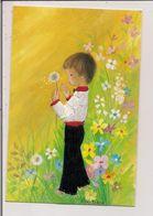 Carte Postale Brodée  -   Illustration Constanza  -   Garçonnet, Fleur De Pissenlit - Brodées