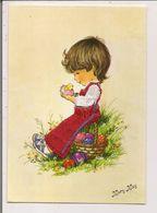 Carte Postale Brodée  -   Illustration Mary May  -  Petite Fille, Petit Poussin, Oeufs - Brodées