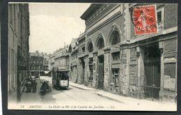 CPA - AMIENS - La Halle Aux Blés Et La Caserne Des Jacobins, Animé - Tramway - Amiens