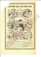 2 Scans 1904 Publicité Machine à Coudre New Home Les Sept Pêchés Capitaux Métier Couturière 216CH10 - Vieux Papiers