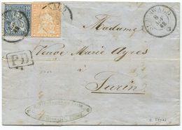 1774 - Strubel + Sitzende Helvetia Mischfrankatur Auf Faltbrief Von SUMISWALD Nach TURIN - 1862-1881 Helvetia Assise (dentelés)