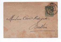 1886 - ENVELOPPE ENTIER TYPE SAGE De BASTIA (CORSE) - Marcophilie (Lettres)
