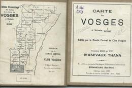 Club Vosgien : Feuille N° 19/20 - MASEVAUX / THANN - 1/50 000ème - 1922. - Topographical Maps