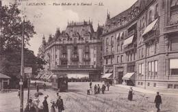 Lausanne  Tram Sur La Place Bel-air 1913 - Tramways
