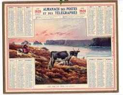 Calendrier Des Postes  1928  Finistere  Les Tas De Pois     Complet   étatB/TB   Port France 3,20€ - Calendars