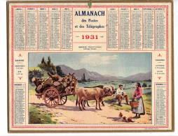 Calendrier Des Postes  1931  HENDAYE  Attelage Basque     Complet   étatB/TB   Port France 3,20€ - Formato Grande : 1921-40