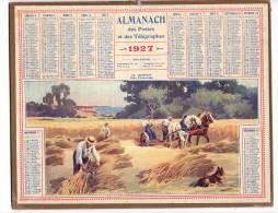 Calendrier Des Postes  1927 Bretagne Côte D'émeraude  La Moisson (attelage)  Complet   étatB/TB   Port France 3,20€ - Formato Grande : 1921-40