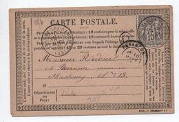 1877 - CARTE PRECURSEUR De BAUMES LES DAMES (DOUBS) Avec SAGE - BOITE RURALE O - Marcophilie (Lettres)