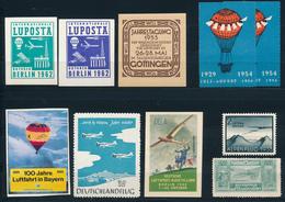 LUFTPOST  - 10 Vignetten Etc. Mit Flugpost-Bezug Etc.  , Alpenflug 1935 , DELA 1932 , LUPOSTA  Etc. - Werbung