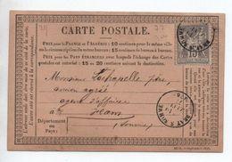 1877 - CARTE PRECURSEUR De BRAY SUR SOMME Avec SAGE - Marcophilie (Lettres)