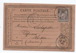 1876 - CARTE PRECURSEUR De LAON (AISNE) Avec SAGE - Marcophilie (Lettres)