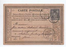 1877 - CARTE PRECURSEUR De MOUCHARD (JURA) Pour SALINS Avec SAGE - Marcophilie (Lettres)