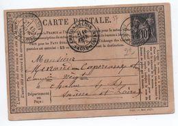 1877 - CARTE PRECURSEUR De GUEUGNON (SAONE ET LOIRE) Avec SAGE - Marcophilie (Lettres)
