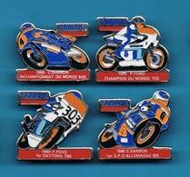 4 PIN'S //    ** YAMAHA ** P. PONS ** C. SARRON ** 1979 // 1980 ** 1985 // 1989 ** - Motorbikes