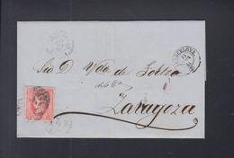 Spain Cover 1864 Barcelona To Zaragoza - 1850-68 Königreich: Isabella II.