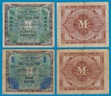 ALLIIERTE MILITÄRBEHÖRDE 1/2 Und 1 Mark 1944/48 Gebraucht  (21003 - [ 5] Ocupación De Los Aliados