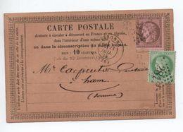 1875 - CARTE PRECURSEUR De PERONNE (SOMME) N° 53 & 58 - Marcophilie (Lettres)