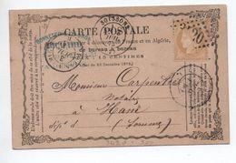 1873 - CARTE PRECURSEUR De SOISSONS (AISNE) Avec GC 3420 - Marcophilie (Lettres)