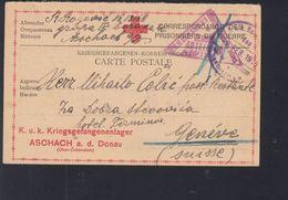 KuK  PK Kriegsgefangenenlager Aschach Nach Genf - Briefe U. Dokumente