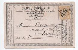 1874 - CARTE PRECURSEUR De PERONNE (SOMME) Avec GC 2817 - Marcophilie (Lettres)