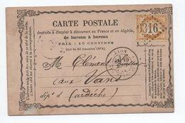 1873 - CARTE PRECURSEUR De LYON Pour VANS (ARDECHE) - Marcophilie (Lettres)