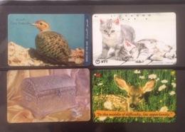 Lot Of 4 Used Phonecard Card Cards Regarding Bird / Cat/ 02 Photo With Backside - Télécartes