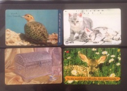 Lot Of 4 Used Phonecard Card Cards Regarding Bird / Cat/ 02 Photo With Backside - Telefoonkaarten