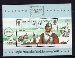 MAN Ameripex Mayflower 1986 Yv Bl 8 MNH ** - Isola Di Man