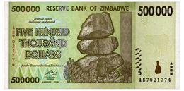 ZIMBABWE 500000 DOLLARS 2008 Pick 76 Unc - Zimbabwe