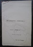 Messageries Maritimes  Liste Des Passagers Paquebot Athos II 25 Mars 1927 Ligne Chine Et Japon - Bateaux