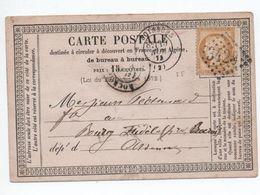 1874 - CARTE PRECURSEUR De SOISSONS (AISNE) Avec GC 3420 - Marcophilie (Lettres)